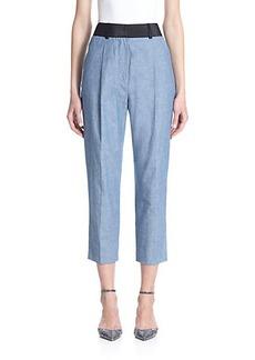 3.1 Phillip Lim Cropped Cotton Chambray Pants