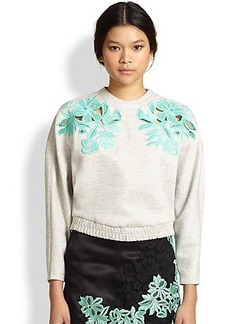3.1 Phillip Lim Cutout Embroidered-Lace Sweatshirt