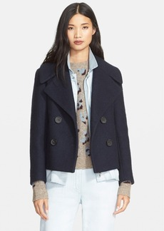 3.1 Phillip Lim Denim Layer Double Breasted Wool Blend Jacket