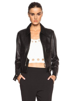 """3.1 phillip lim <div class=""""product_name"""">Boxy Leather Jacket with Topstitched Details and Self Belt</div>"""