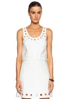 """3.1 phillip lim <div class=""""product_name"""">Cotton-Blend Cropped Tank with Embroidered Eyelet Details</div>"""