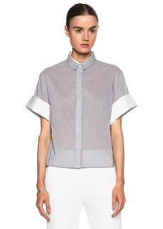 """3.1 phillip lim <div class=""""product_name"""">Cotton-Blend Twill Combo Boxy Top</div>"""