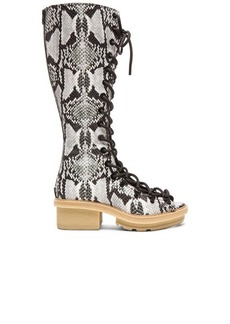 """3.1 phillip lim <div class=""""product_name"""">Mallory Python Print Leather Tall Sandal Boots</div>"""