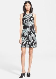 3.1 Phillip Lim Front Zip Jacquard Dress with Leather Belt