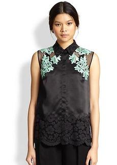 3.1 Phillip Lim Lace & Mesh-Paneled Silk Satin Shirt