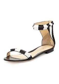 3.1 Phillip Lim Martini Ankle-Wrap Sandal, Black/White