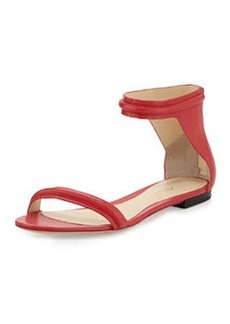 3.1 Phillip Lim Martini Leather Flat Sandal, Raspberry