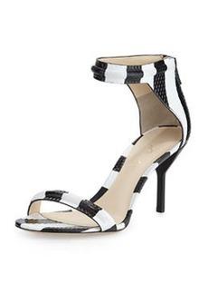 3.1 Phillip Lim Martini Striped Mid-Heel Sandal, Black/White