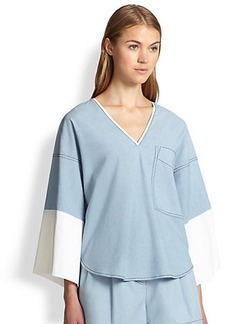 3.1 Phillip Lim Oversized Wide-Sleeved Chambray Tee