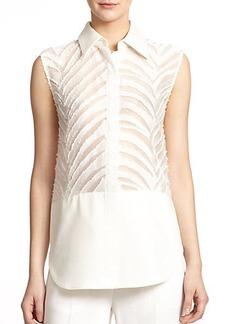 3.1 Phillip Lim Semi-Sheer Textured Sleeveless Shirt