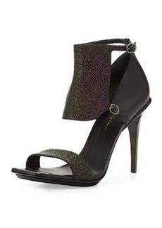 Aurora Stingray-Print Leather Sandal, Petrol/Black   Aurora Stingray-Print Leather Sandal, Petrol/Black
