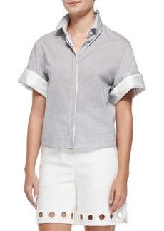 Boxy Short-Sleeve Button-Down Shirt   Boxy Short-Sleeve Button-Down Shirt