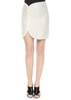 Cord-Framed Crinkled Satin Skirt, Ivory/Cream   Cord-Framed Crinkled Satin Skirt, Ivory/Cream