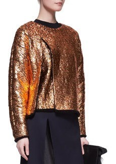 Crackled Metallic Cutaway Sweatshirt   Crackled Metallic Cutaway Sweatshirt