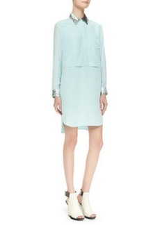 Double-Layered Sequin-Trim Shirtdress   Double-Layered Sequin-Trim Shirtdress