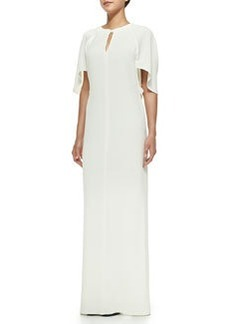 Draped Keyhole Gown with Tie Back, Ivory   Draped Keyhole Gown with Tie Back, Ivory