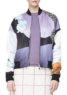 Dropped-Shoulder Printed Bomber Jacket, Purple/Multi   Dropped-Shoulder Printed Bomber Jacket, Purple/Multi