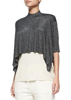 Elbow-Sleeve Layered Shimmery Shirt, Black/Champagne   Elbow-Sleeve Layered Shimmery Shirt, Black/Champagne