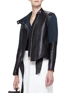 Judo Leather/Silk Asymmetric Jacket   Judo Leather/Silk Asymmetric Jacket