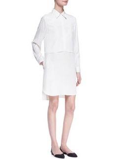 Long-Sleeve Double-Layer Shirtdress   Long-Sleeve Double-Layer Shirtdress