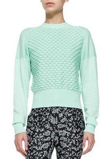 Mixed-Knit Cotton/Cashmere Sweater   Mixed-Knit Cotton/Cashmere Sweater