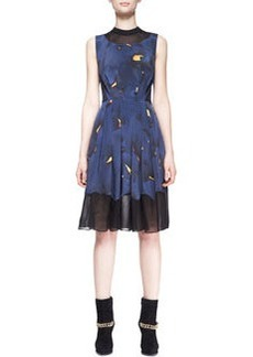 Pleated Mesh-Inset Printed Dress   Pleated Mesh-Inset Printed Dress