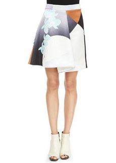 Rounded Folded Floral Skirt, Purple/Caramel   Rounded Folded Floral Skirt, Purple/Caramel