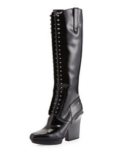Runway Juno Lace-Up Patent Leather Knee Boot, Black   Runway Juno Lace-Up Patent Leather Knee Boot, Black