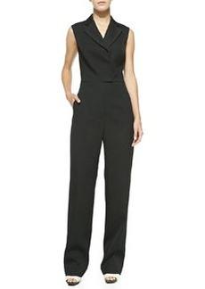 Sleeveless Collared Jumpsuit, Black   Sleeveless Collared Jumpsuit, Black