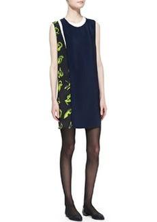 Sleeveless Print-Paneled Shift Dress   Sleeveless Print-Paneled Shift Dress