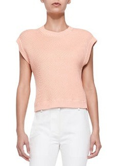 Sleeveless Rib-Stitched Pullover, Coral   Sleeveless Rib-Stitched Pullover, Coral