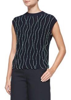 Sleeveless Thread-Wave Pullover Sweater   Sleeveless Thread-Wave Pullover Sweater