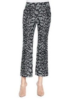 Snake-Print Cropped Flared Pants   Snake-Print Cropped Flared Pants