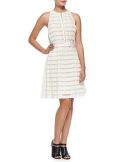 Striped Accordion-Pleated Fit-And-Flare Dress, Ivory   Striped Accordion-Pleated Fit-And-Flare Dress, Ivory