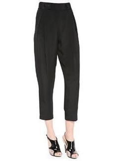 Tab-Waist Pleated Cropped Pants, Black   Tab-Waist Pleated Cropped Pants, Black