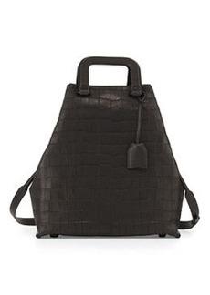 Wednesday Croc-Embossed Tote Bag, Black   Wednesday Croc-Embossed Tote Bag, Black