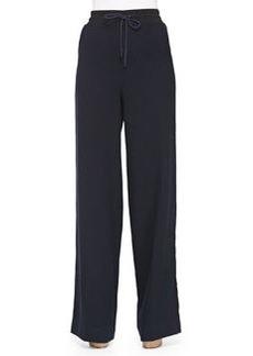 Wide-Leg Wool Pants W/ Drawstring   Wide-Leg Wool Pants W/ Drawstring