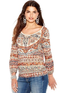 Lucky Brand Three-Quarter-Sleeve Printed Peasant Top