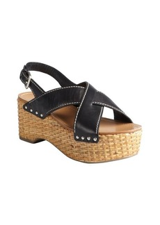 Prada Sport black leather stitched woven platform sandals