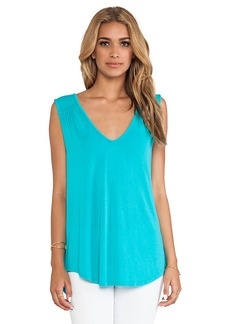 Michael Stars Double V Neck Shirt Tail Tank in Teal