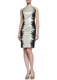 Carmen Marc Valvo Sleeveless Two-Tone Cocktail Dress, Champagne/Black