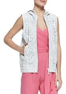 Catherine Malandrino Reptile Textured Hooded Leather Vest