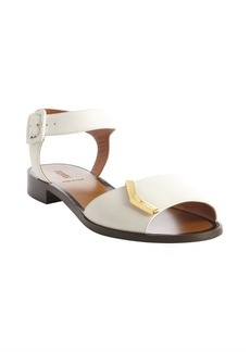 Fendi white leather gold detail anklestrap flat sandals