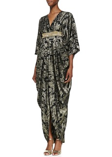 Michael Kors Ikat Metallic Caftan, Black/Gold