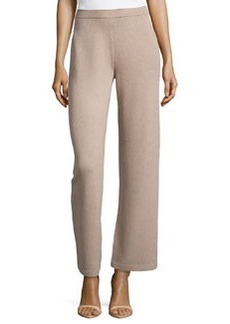 St. John Stove-Cut Santana-Knit Pants, Bisque