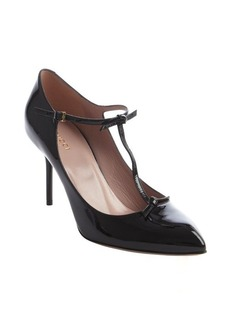 Gucci black patent leather knot detail strappy pumps