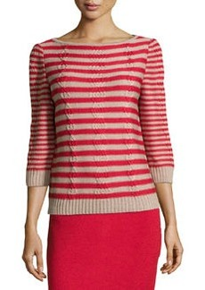 St. John Striped Cable-Knit Sweater, Ruby/Bisque