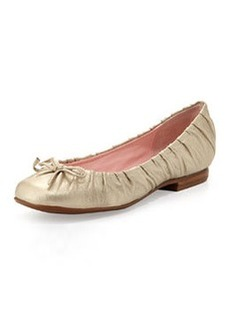 Taryn Rose Pintucked Ballet Flat, Gold
