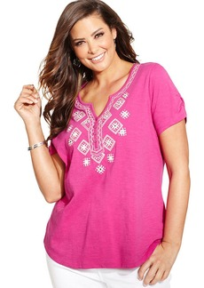 Style&co. Plus Size Short-Sleeve Embroidered Top