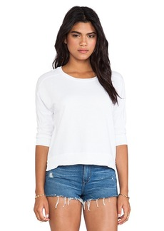 Velvet by Graham & Spencer Ellableu French Terry Slub Top in White